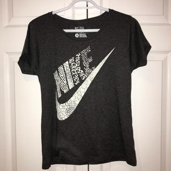 Nike Grey Animal Print Cotton T-Shirt